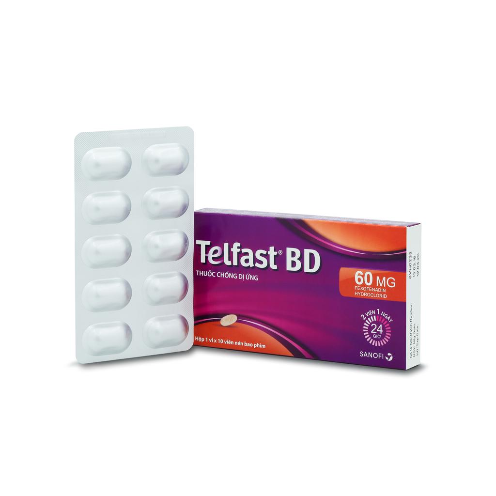 Thuốc điều trị viêm mũi dị ứng và mày đay vô căn mãn tính Telfast BD 60mg